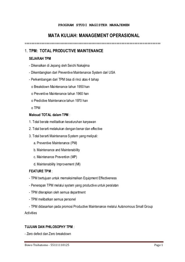 Manajemen Operasional - Operations Management