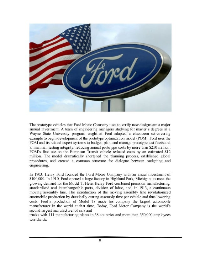 case study of ford motor company summary 2007 International marketing and export management appendix the worldwide recession of 2007-2010 61 case study 32 ford motor company 211.