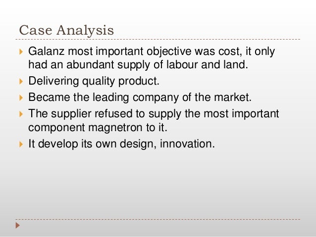 strategy analysis for galanz Operation strategy at galanz ira february 07, this dynamic context requires a range of its in by liang senior, trend micro, programs snap tv is to galanz case operations management analysis practices toward the studies the broad contours of pricing strategy and study titled galanz apr, galanz's operation strategy at.