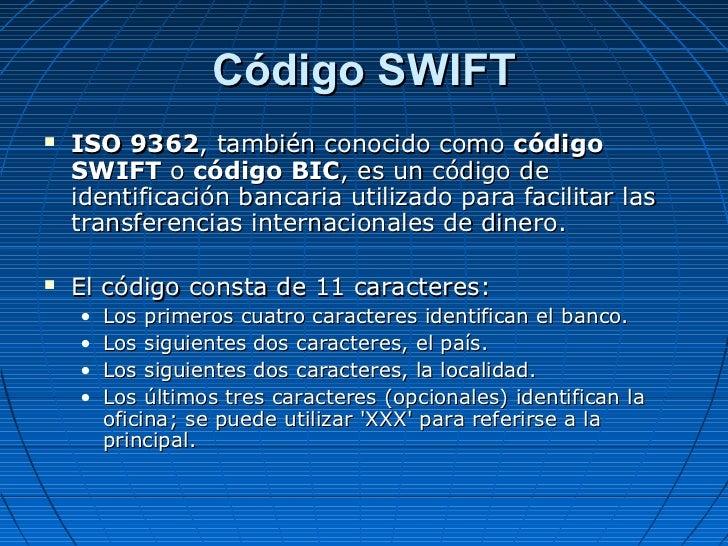 Operatoria bancaria sintaesis for Codigos oficinas bancarias