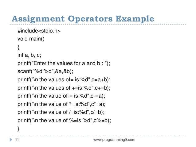 Assignment operators