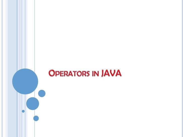 Operators in java