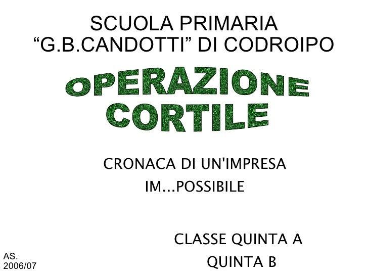 """SCUOLA PRIMARIA       """"G.B.CANDOTTI"""" DI CODROIPO                 CRONACA DI UN'IMPRESA                 IM...POSSIBILE     ..."""