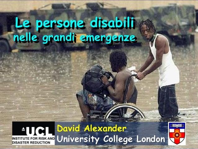 I disabili nelle grandi emergenze