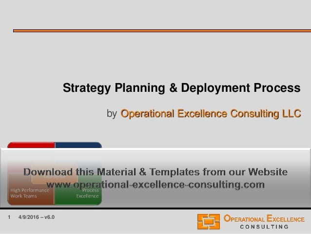 1 Strategy Planning & Deployment Process by Operational Excellence Consulting LLC 4/9/2016 – v6.0