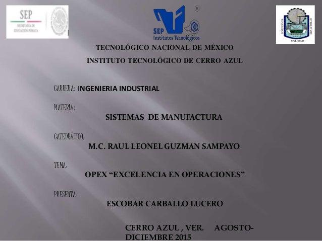 TECNOLÓGICO NACIONAL DE MÉXICO INSTITUTO TECNOLÓGICO DE CERRO AZUL CARRERA: INGENIERIA INDUSTRIAL MATERIA: SISTEMAS DE MAN...