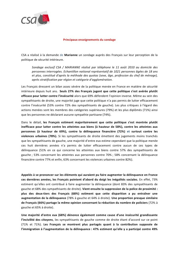 Principaux enseignements du sondage    CSA a réalisé à la demande de Marianne un sondage auprès des Français sur leur perc...