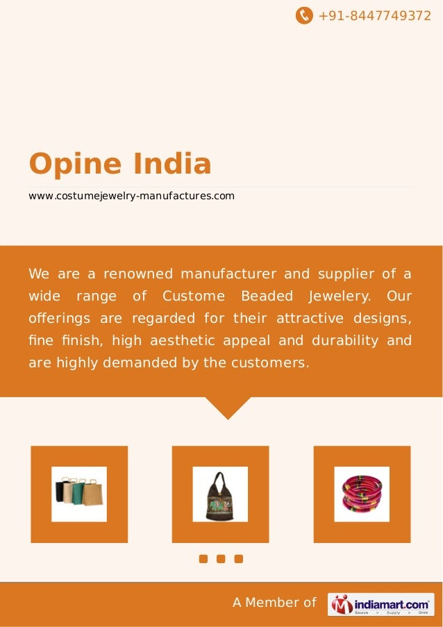+91-8447749372  Opine India www.costumejewelry-manufactures.com  We are a renowned manufacturer and supplier of a wide  ra...
