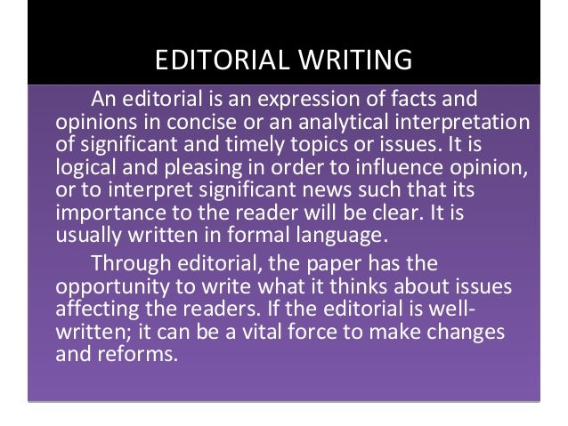 What to write in Editorial/essay?