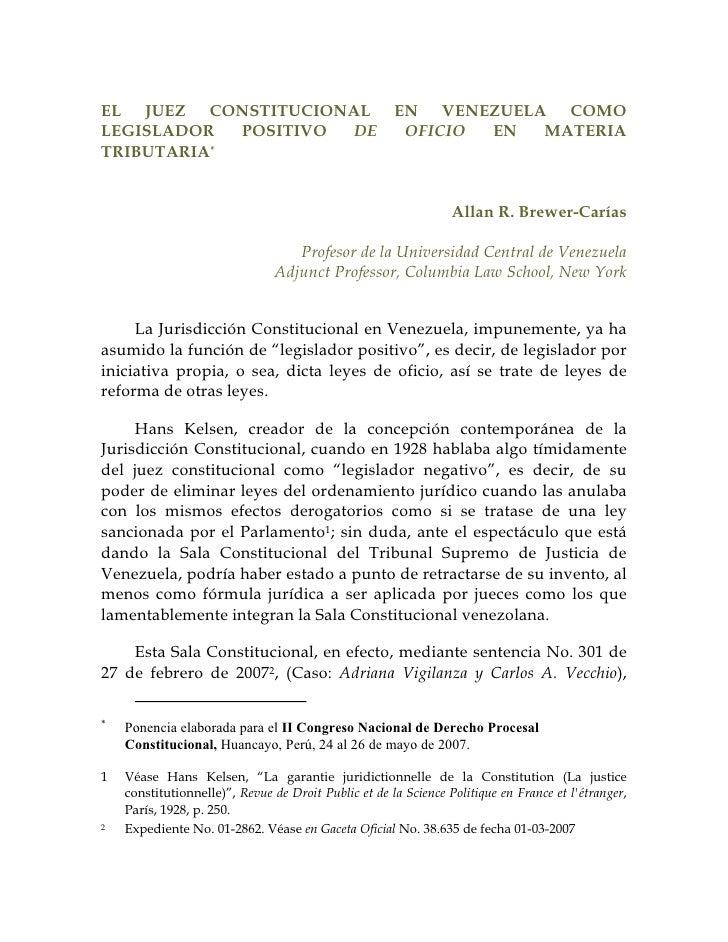 EL JUEZ CONSTITUCIONAL                                EN VENEZUELA COMO LEGISLADOR  POSITIVO DE                           ...