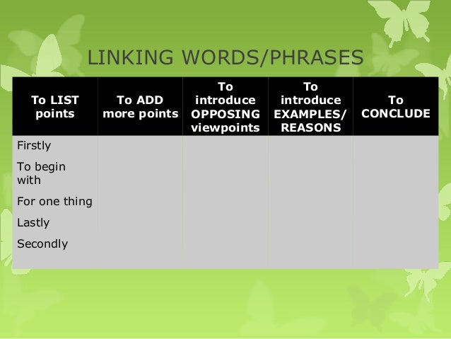 opinion essay phrases introduction Useful linking words and phrases for essays another link for linking words here 1 to indicate a contrast:  i firmly believe the correct use of 'linking words' is the key to a good essay by: michelle on april 22, 2013  introduction to unistudy through academic writing (topic 1-fc) (7) iap flinders.