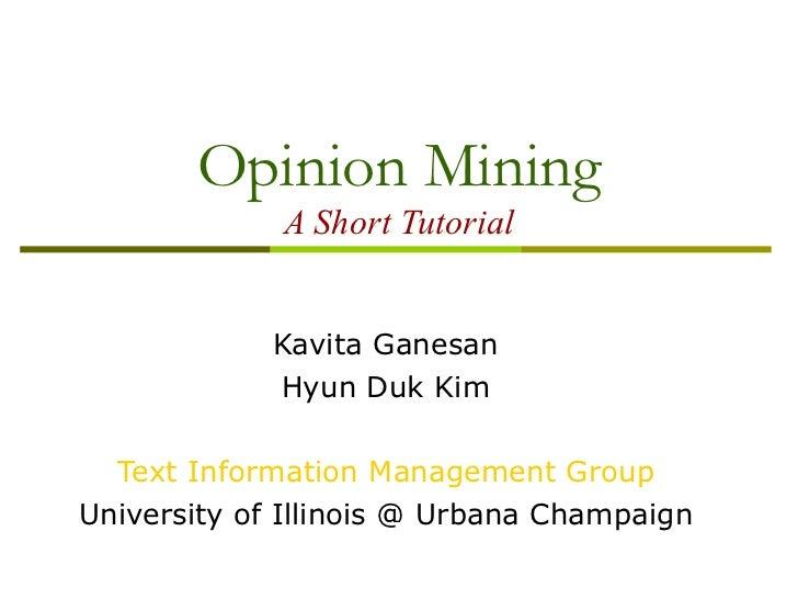 Opinion Mining Tutorial