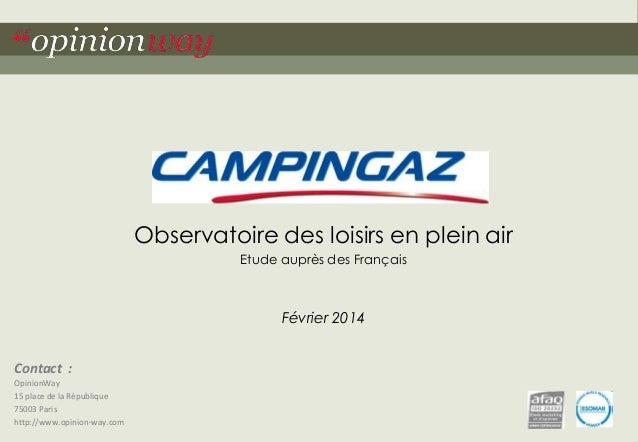 Contact :  OpinionWay  15 place de la République  75003 Paris  http://www.opinion-way.com  Observatoire des loisirs en ple...