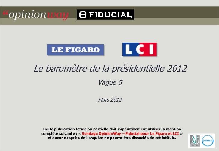 Le baromètre de la présidentielle 2012                                Vague 5                                Mars 2012  To...