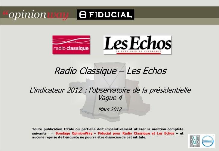 Radio Classique – Les EchosLindicateur 2012 : lobservatoire de la présidentielle                        Vague 4           ...