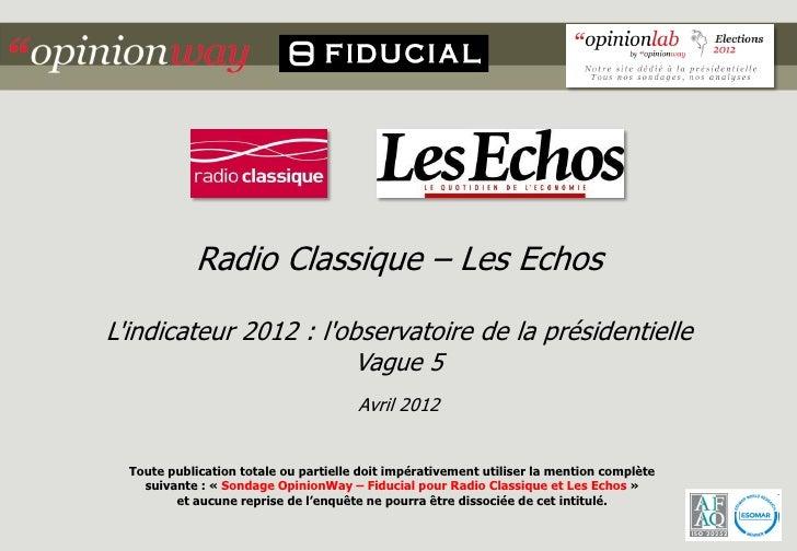 Radio Classique – Les EchosLindicateur 2012 : lobservatoire de la présidentielle                        Vague 5           ...