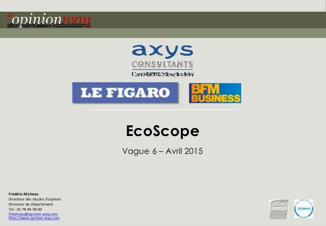 1- EcoScope – Avril 2015 Contact : Frédéric Micheau Directeur des études d'opinion Directeur de département Tel : 01 78 94...