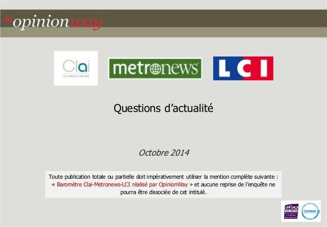 Questions d'actualité  Octobre 2014  Toute publication totale ou partielle doit impérativement utiliser la mention complèt...