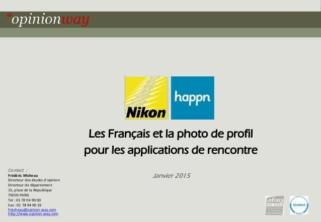 1pour – Les Français et les photos de profil pour les applications de rencontre – Janvier 2015 Les Français et la photo de...