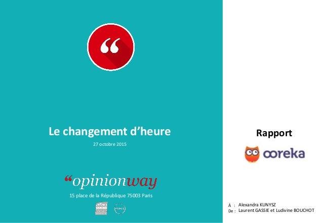 15 place de la République 75003 Paris Rapport À : De : Le changement d'heure Alexandra KUNYSZ Laurent GASSIE et Ludivine B...
