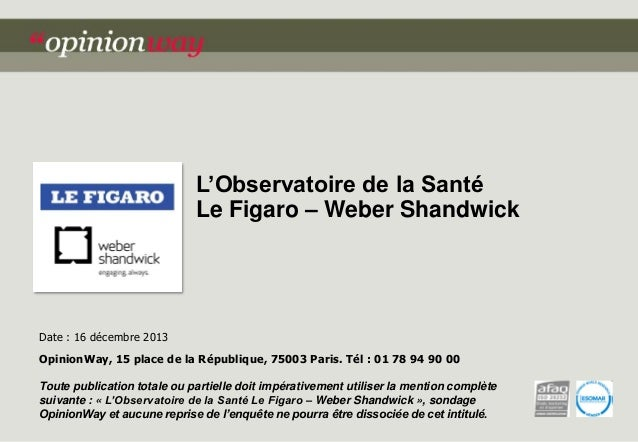 L'Observatoire de la Santé Le Figaro – Weber Shandwick  Date : 16 décembre 2013 OpinionWay, 15 place de la République, 750...