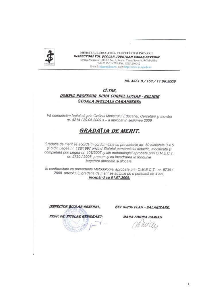 GRADATIE DE MERIT OBTINUTA IN ANUL  2009