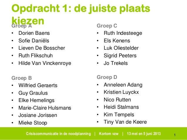 Crisiscommunicatie in de noodplanning | Kortom vzw | 13 mei en 5 juni 2013Opdracht 1: de juiste plaatskiezenGroep A• Dorie...