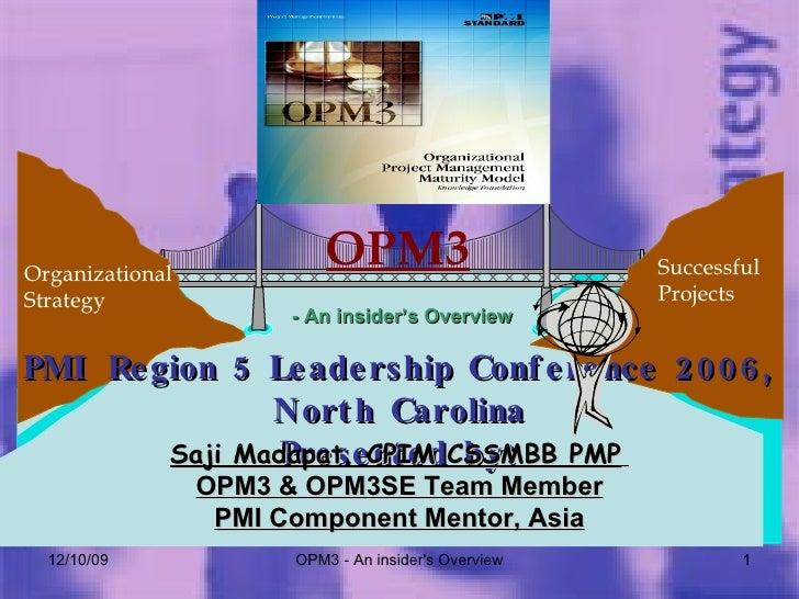 06/08/09 OPM3 - An insider's Overview Organizational Strategy Successful  Projects OPM3 - An insider's Overview PMI Region...