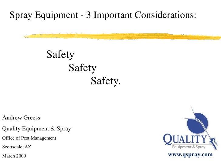 Pest Control Spray Equipment Safety
