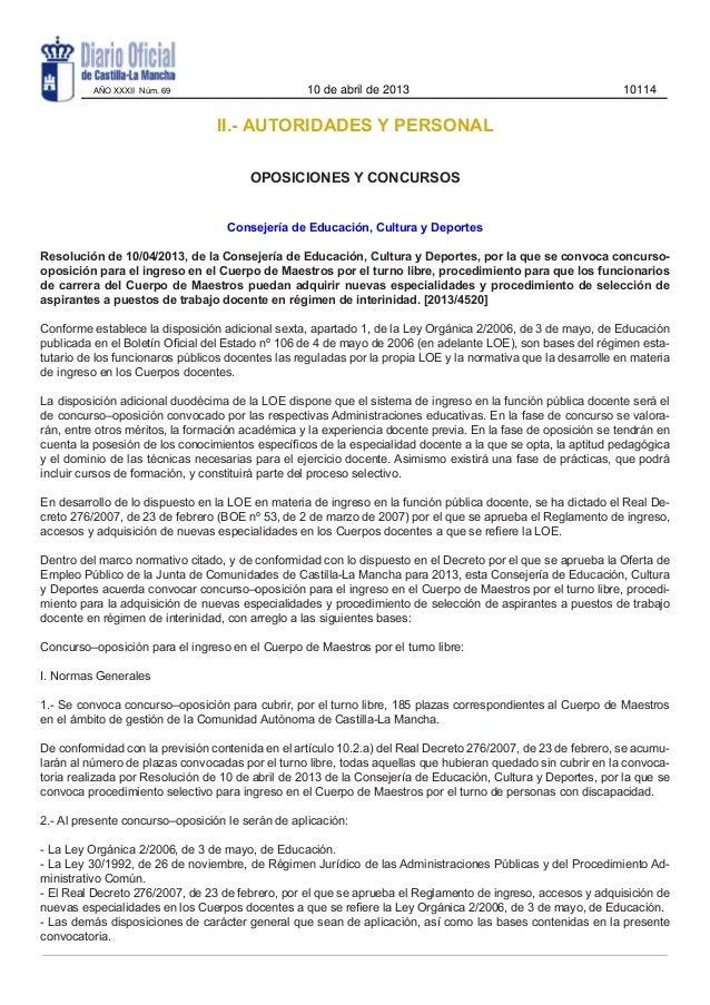 Convocatoria oposiciones maestros castilla la mancha 2013 for Convocatoria de maestros