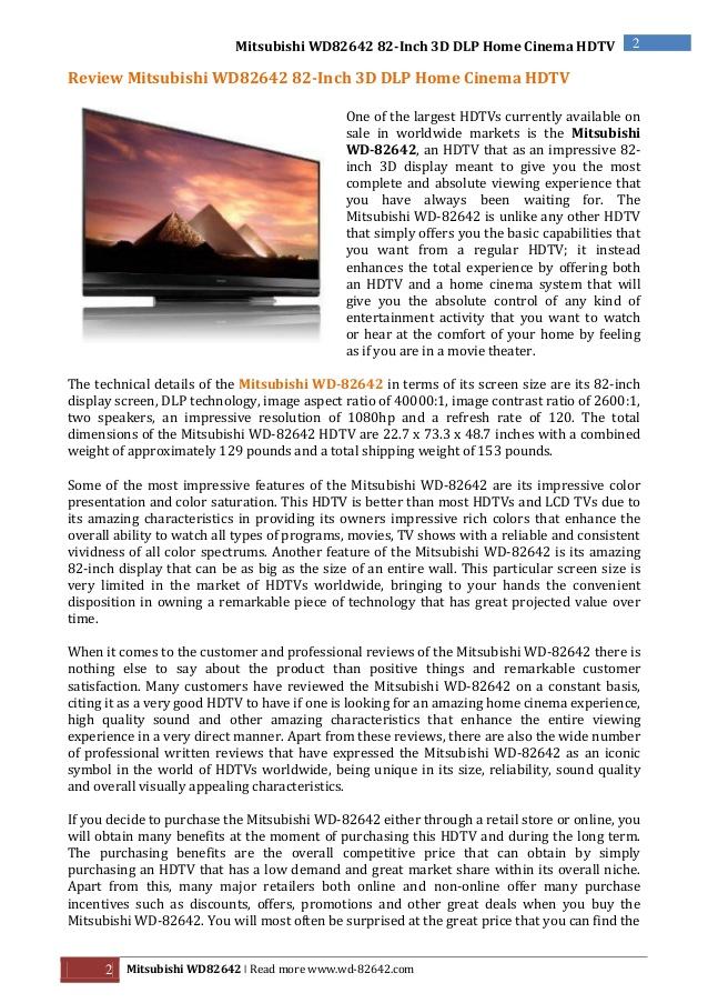review-mitsubishi-wd82642-82 ...
