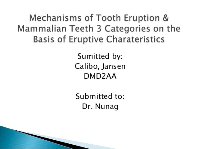 Mechanisms of Tooth Eruption & Mammalian Teeth 3 Categories on the Basis of Eruptive Charateristics