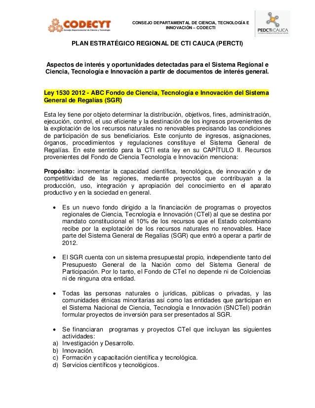CONSEJO DEPARTAMENTAL DE CIENCIA, TECNOLOGÍA E                                             INNOVACIÓN – CODECTI           ...