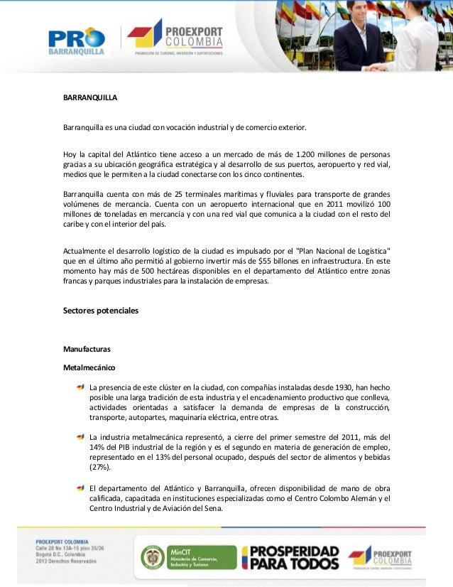 Oportunidades Sectoriales - Región Barranquilla, Atlántico