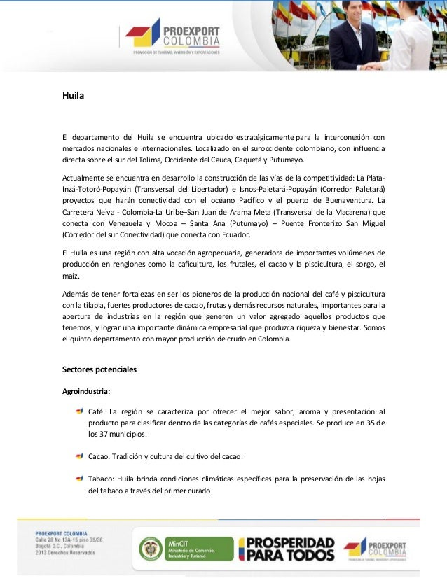 Oportunidades Sectoriales - Región Neiva, Huila