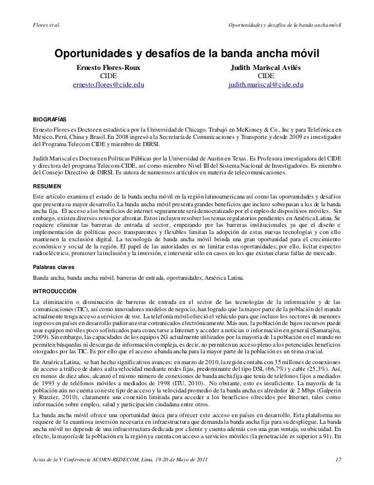 Flores et al.                                                                  Oportunidades y desafíos de la banda ancha ...