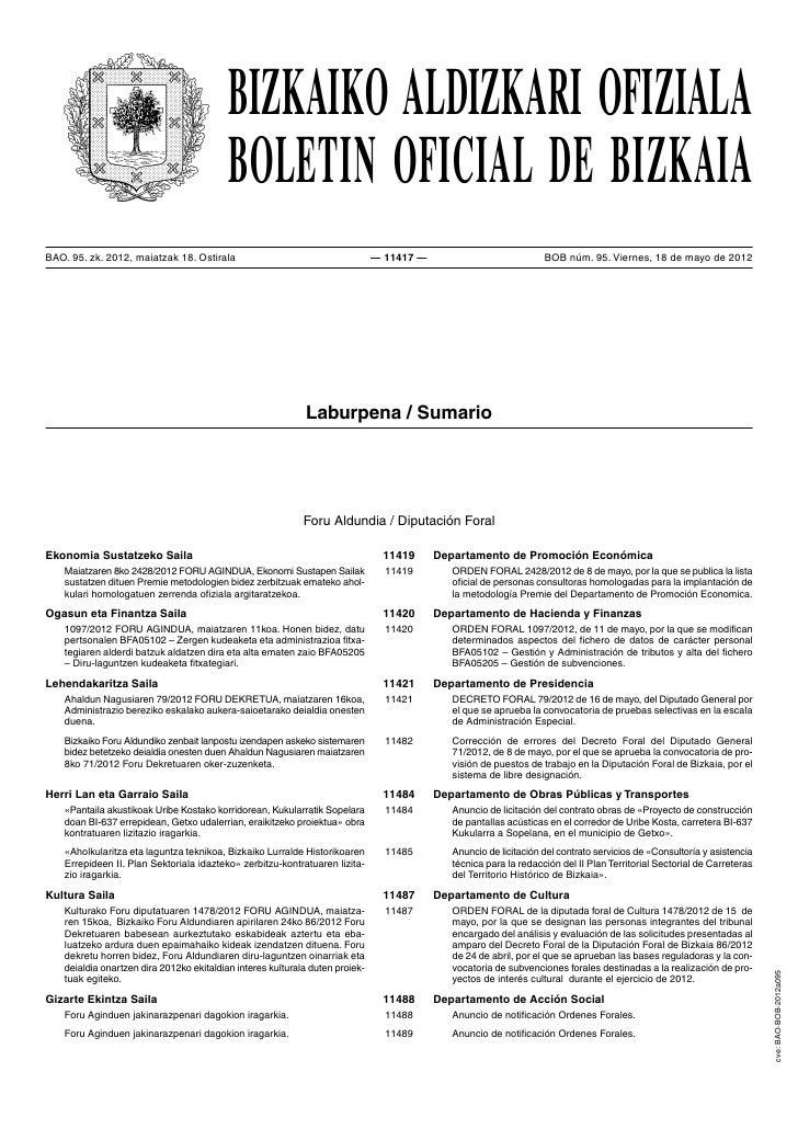 BIZKAIKO ALDIZKARI OFIZIALA                                          BOLETIN OFICIAL DE BIZKAIABAO. 95. zk. 2012, maiatzak...