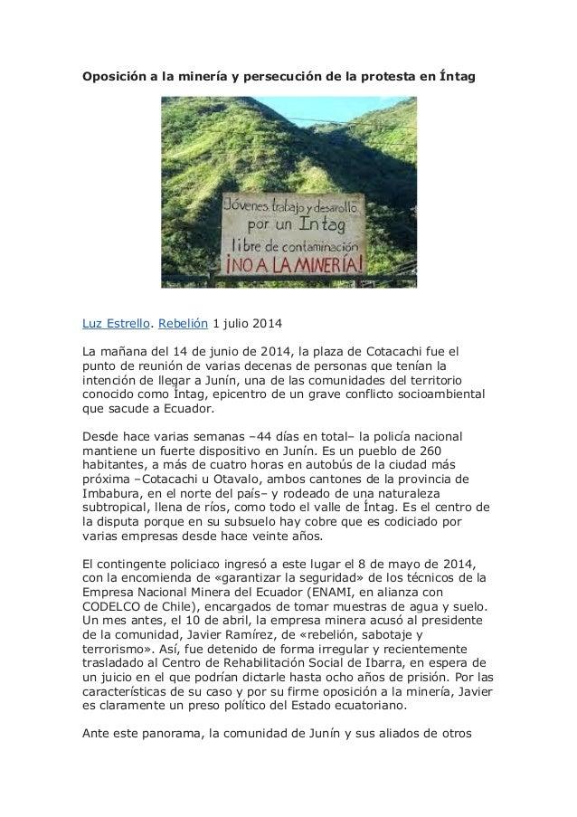 Oposición a la minería y persecución de la protesta en Íntag
