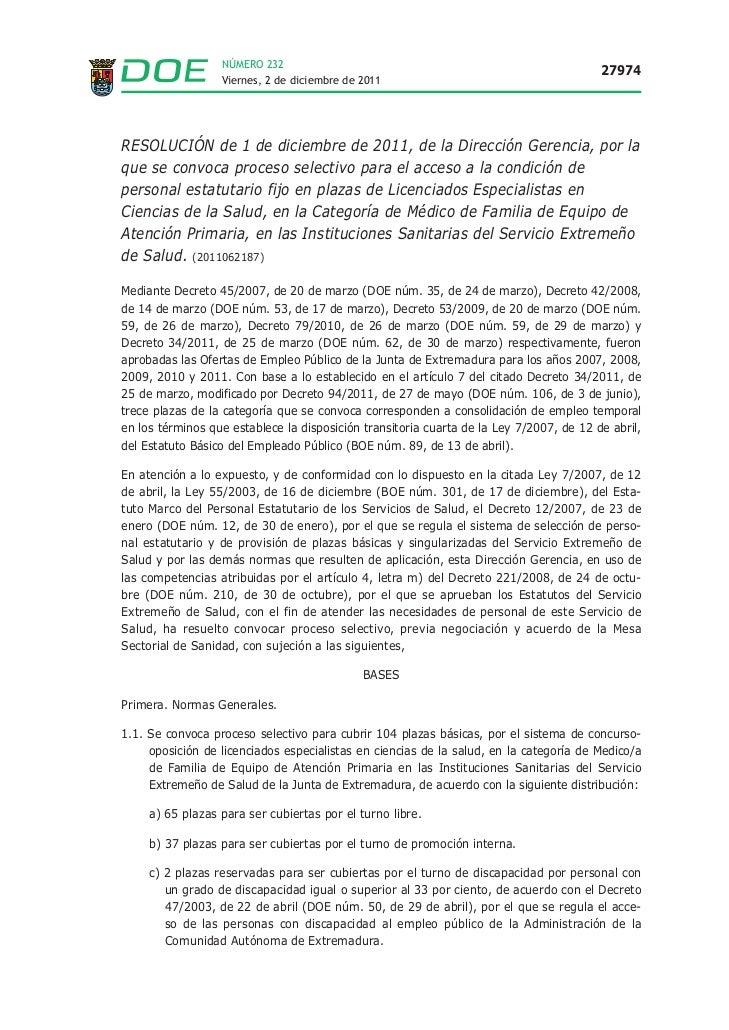 Oposiciones Médicos de Familia Extremadura