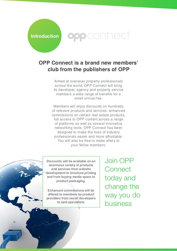 Introduction                     connect   OPP Connect is a brand new members'     club from the publishers of OPP        ...
