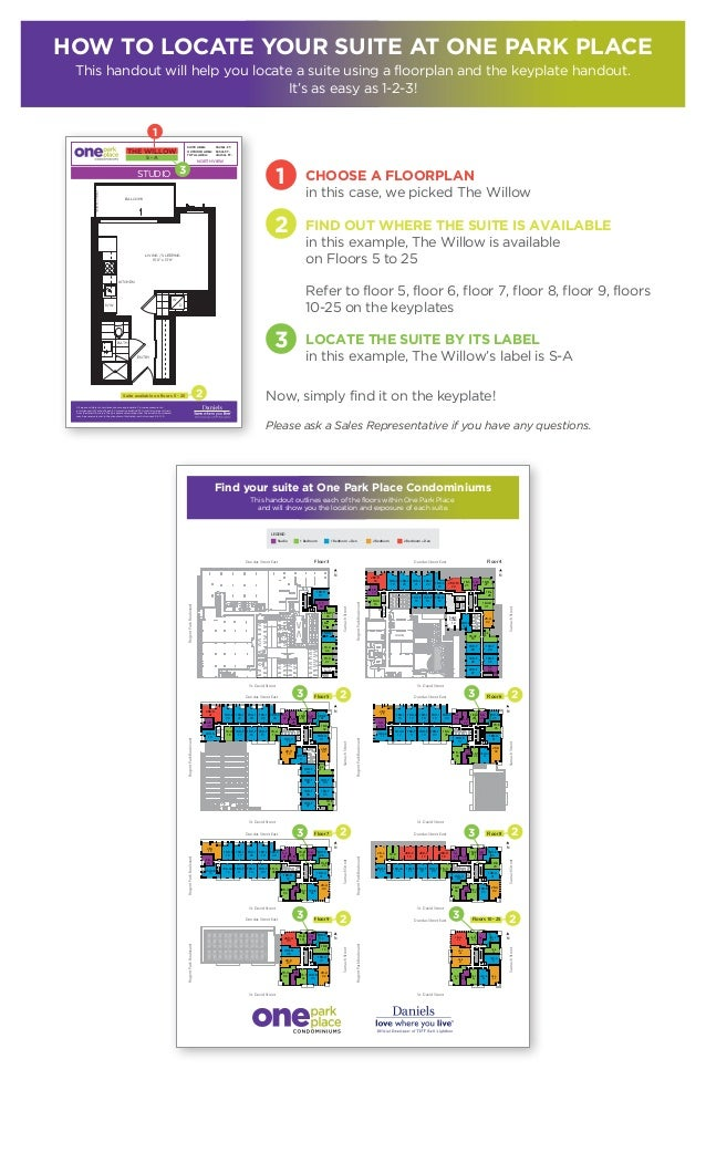 How to locate your suite at One Park Place This handout will help you locate a suite using a floorplan and the keyplate ha...