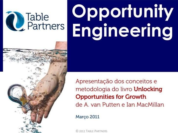 Opportunity Engineering - Desenhando projetos de inovação e crescimento