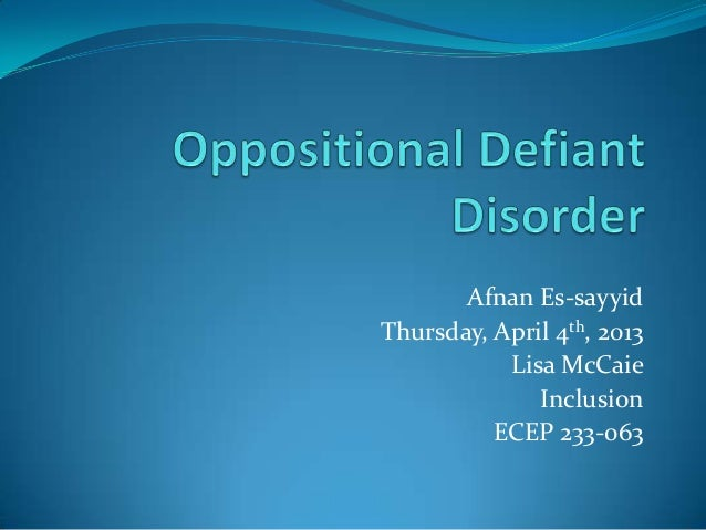 oppositional defiant disorder research paper