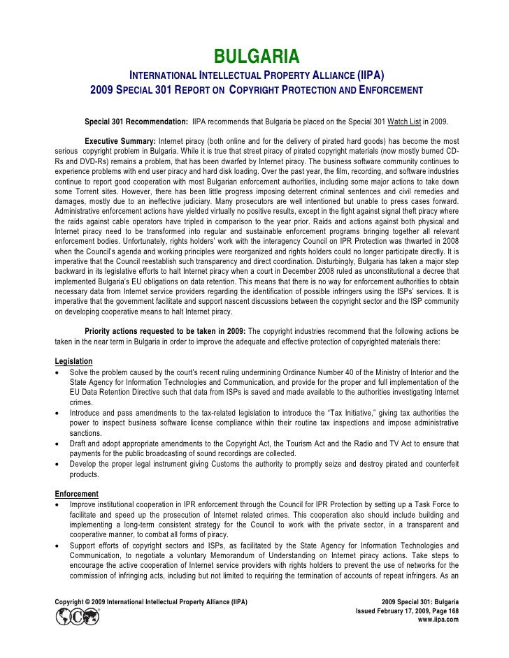 BULGARIA                    INTERNATIONAL INTELLECTUAL PROPERTY ALLIANCE (IIPA)             2009 SPECIAL 301 REPORT ON COP...