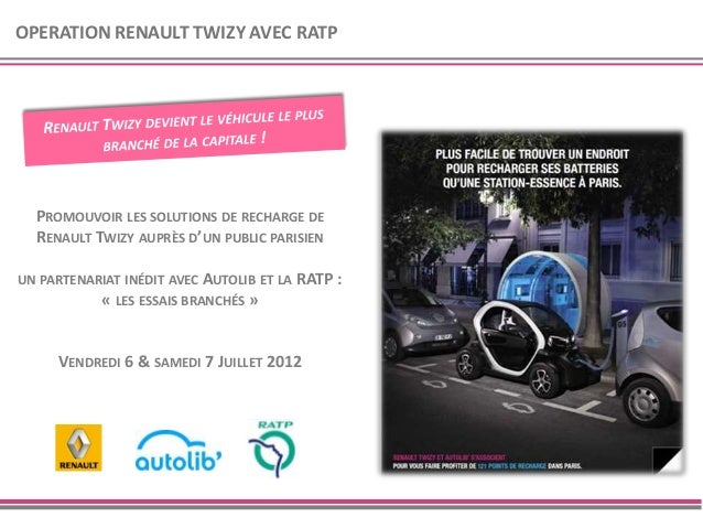 OPERATION RENAULT TWIZY AVEC RATP  PROMOUVOIR LES SOLUTIONS DE RECHARGE DE  RENAULT TWIZY AUPRÈS D'UN PUBLIC PARISIENUN PA...