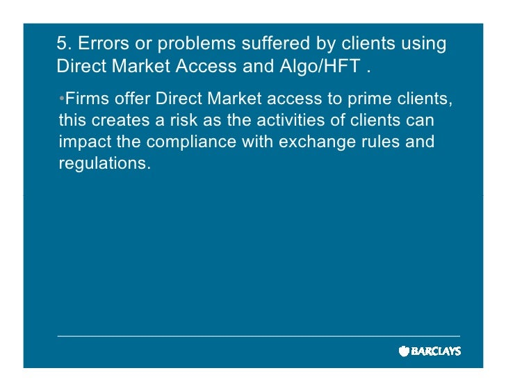 High frequency trading system risk