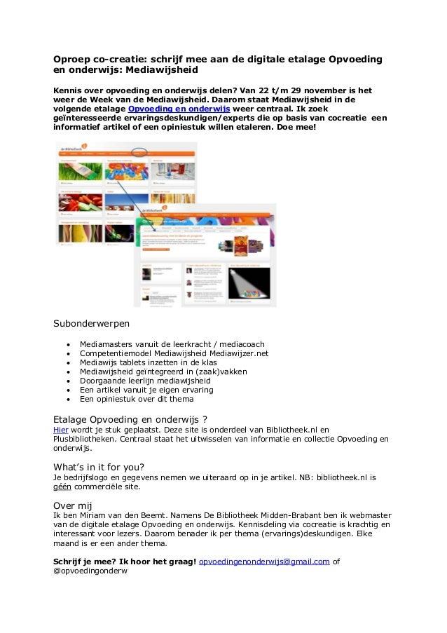 Oproep co-creatie: schrijf mee aan de digitale etalage Opvoeding en onderwijs: Mediawijsheid Kennis over opvoeding en onde...