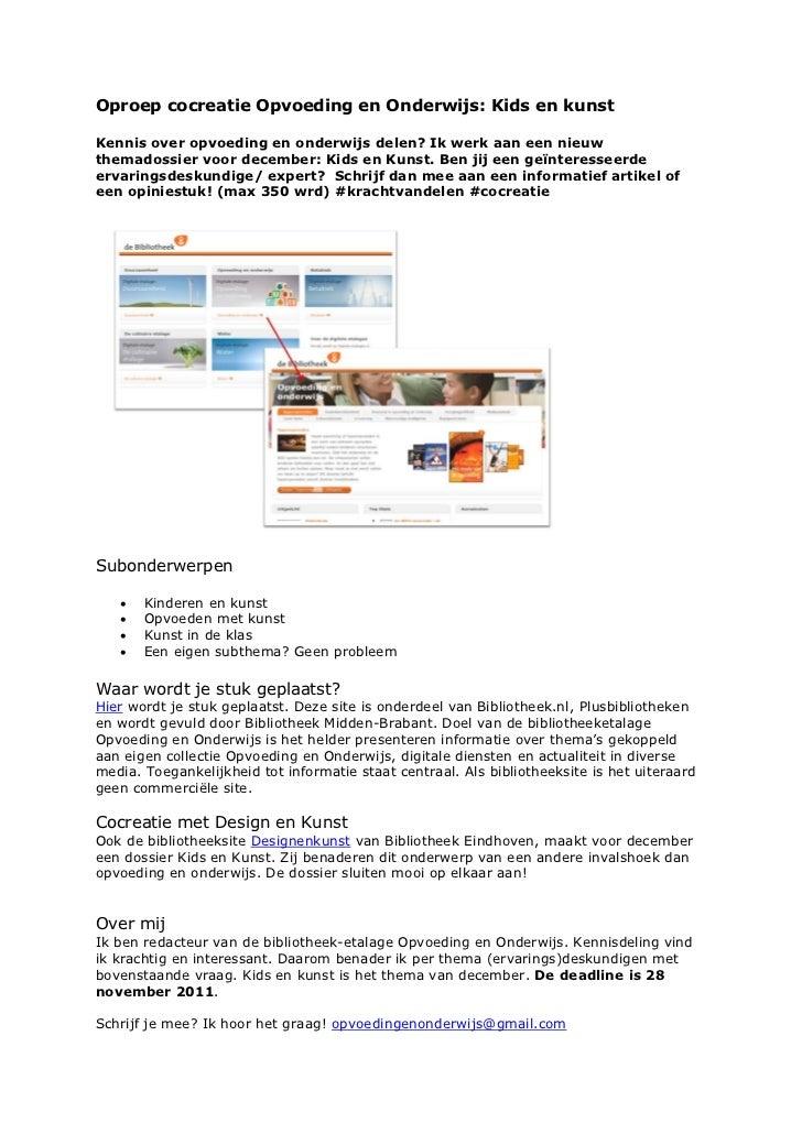 Oproep cocreatie kids en kunst  opvoeding en onderwijs- saskia dellevoet