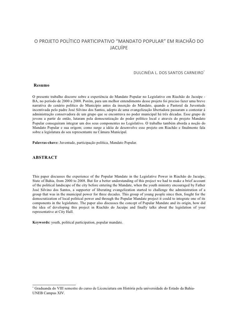 """O projeto político participativo """"mandato popular"""" em riachão do jacuípe"""