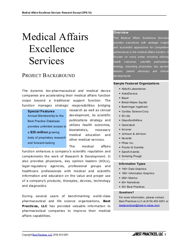 Medical Affairs Excellence Services Summary